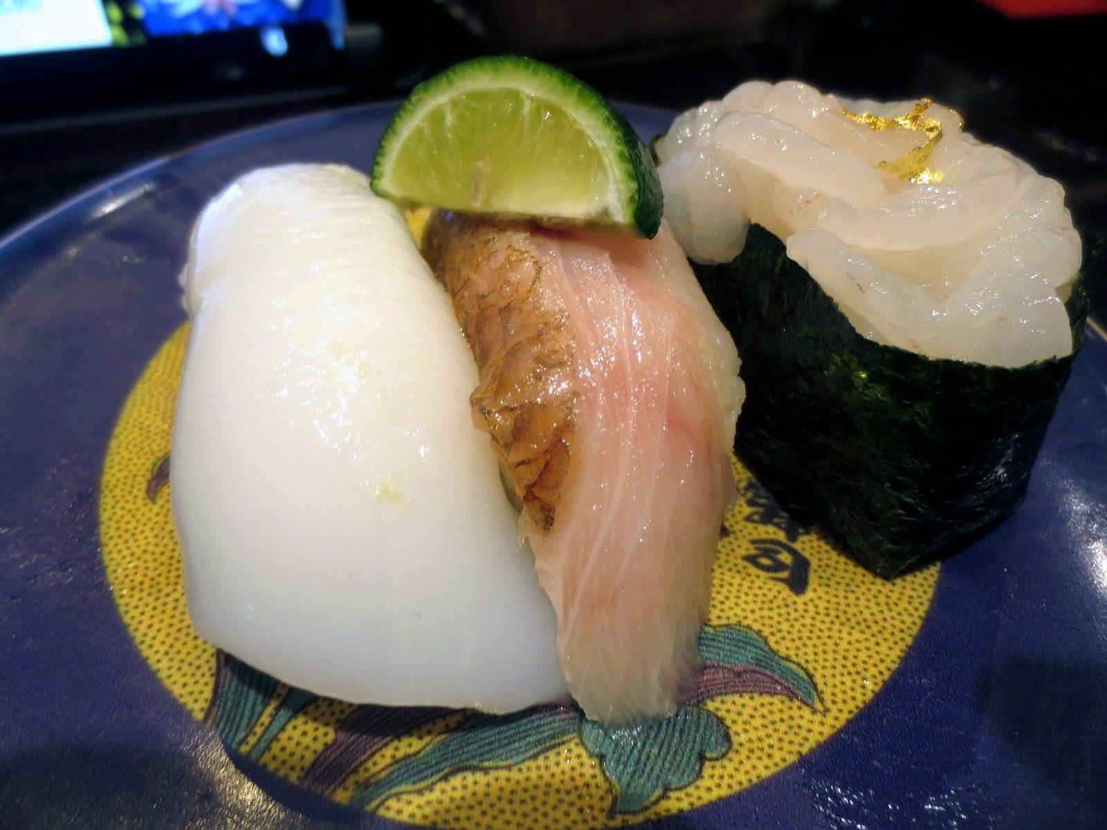 Three Types of White Fish (Bigfin Reef Squid from the Noto Peninsula, Shore Plover, Toyama White Shrimp Battleship)  ¥760