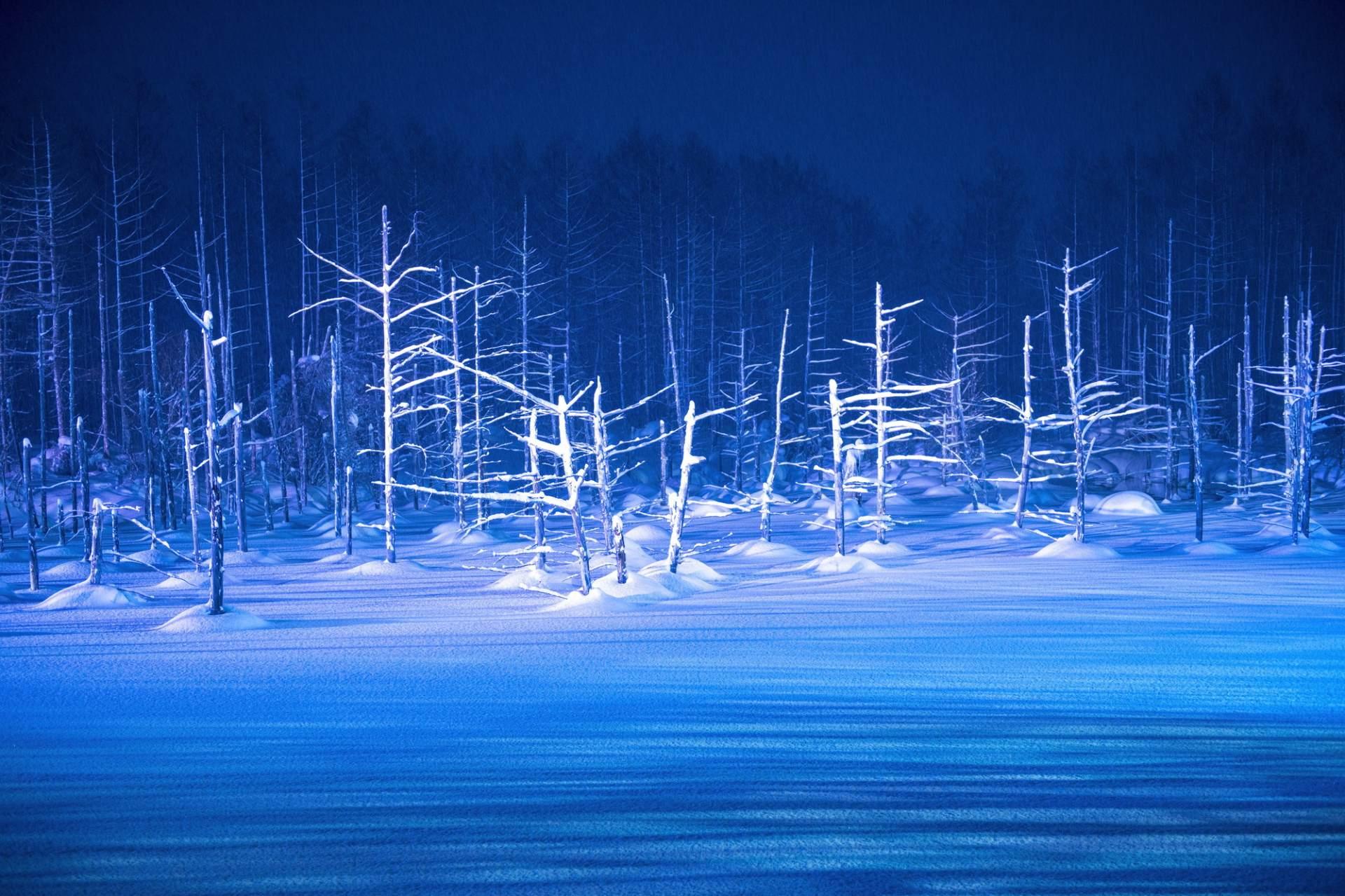 「青池」的冬日雪景具有神秘的美感