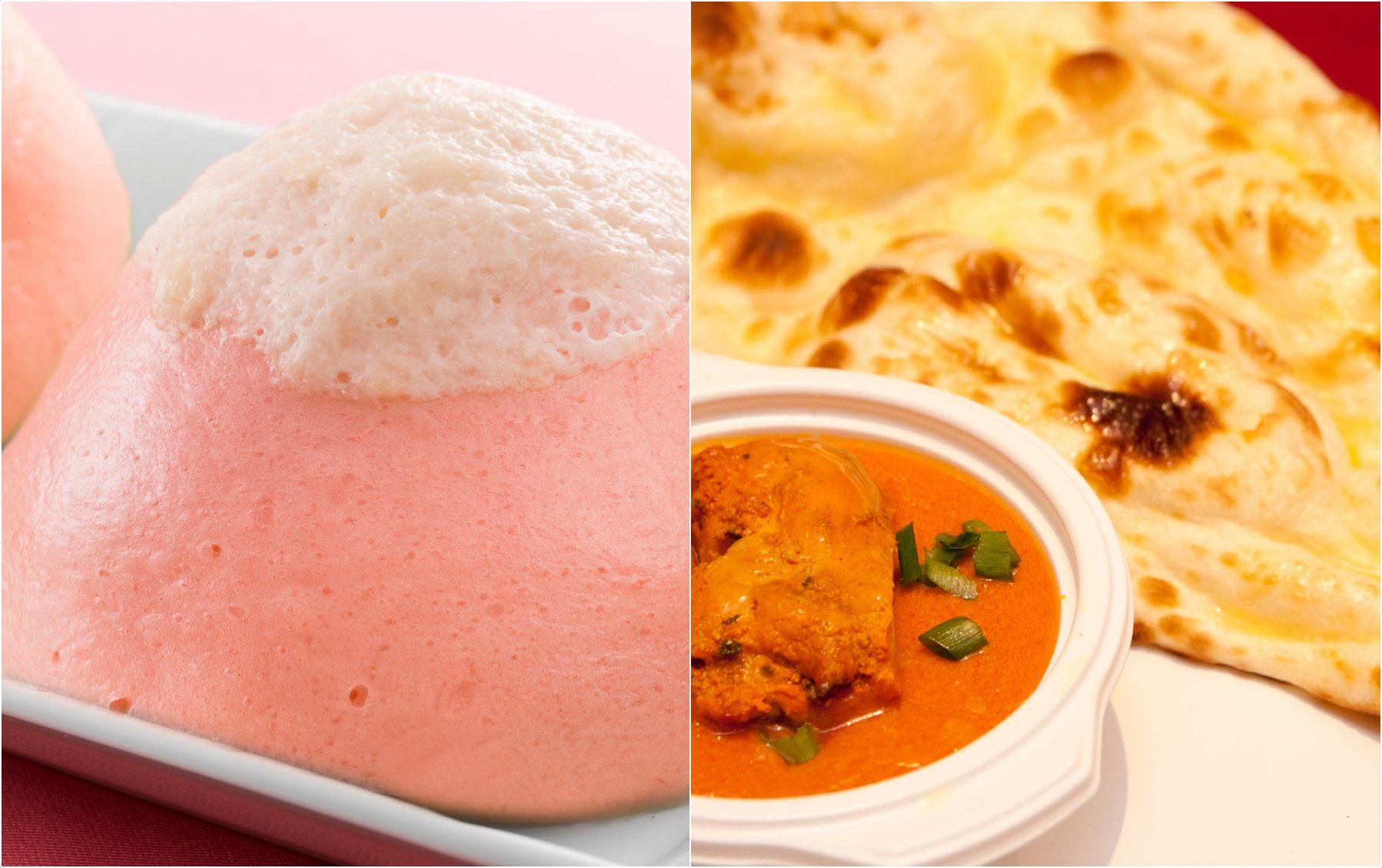 富士芝樱甜饼、奶油鸡肉咖喱&印度饼套餐
