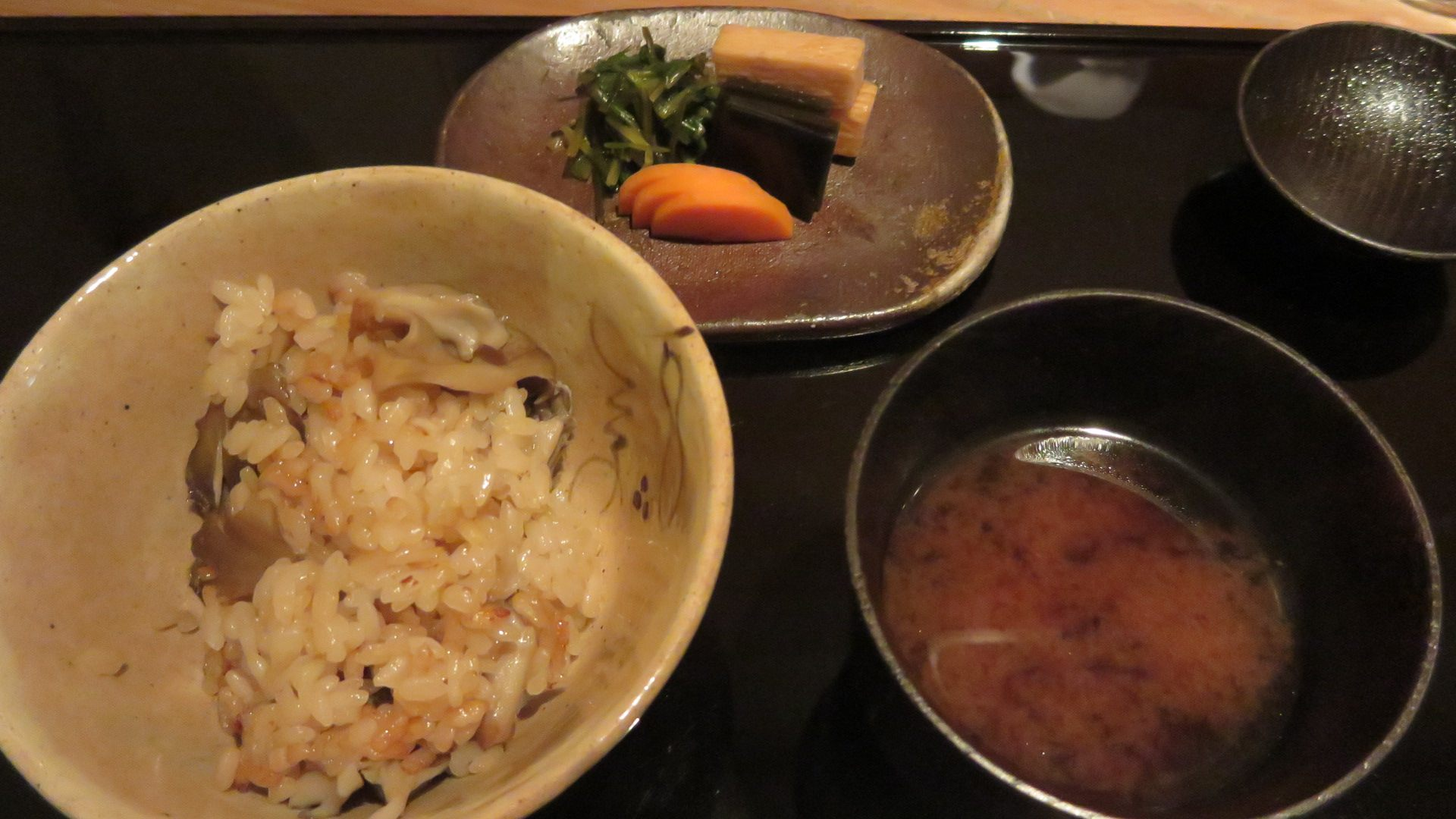 Rice cooked with maitake mushrooms