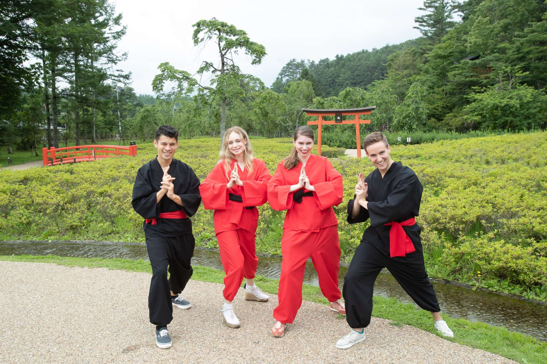 Change into rented ninja outfits to truly transform!