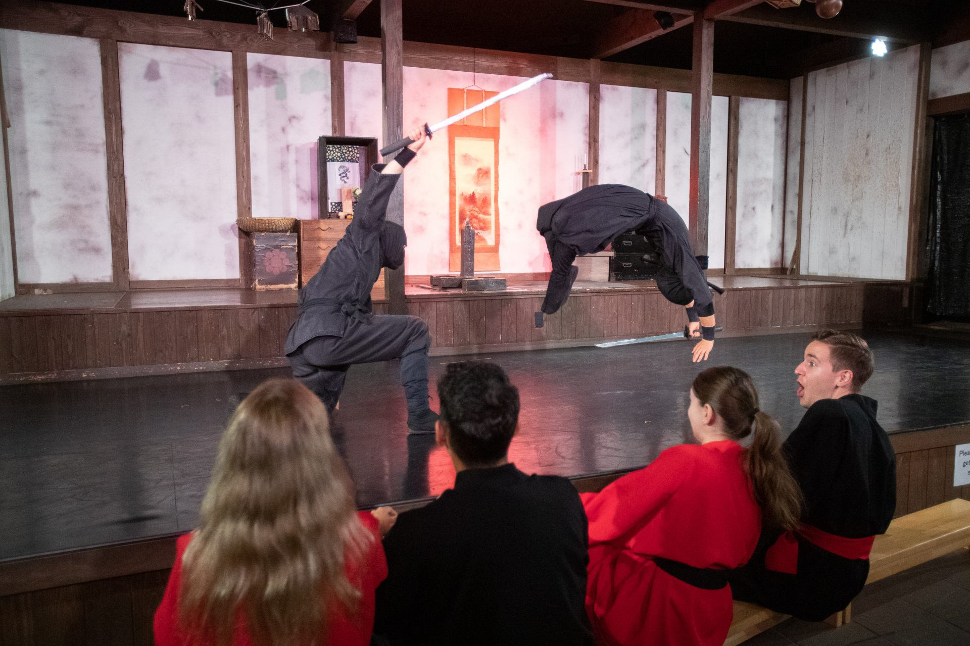 The ninja show offers dazzling acrobatics