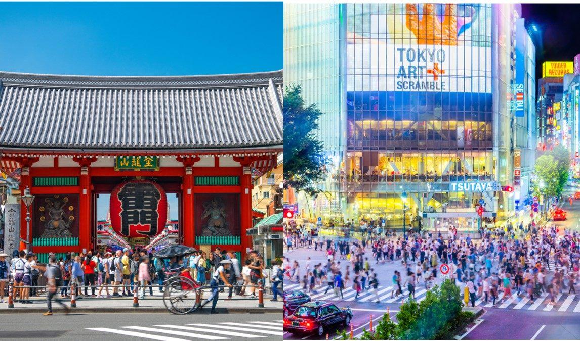 東京觀光的景點地點淺草「雷門」與澀谷的「站前交叉口」