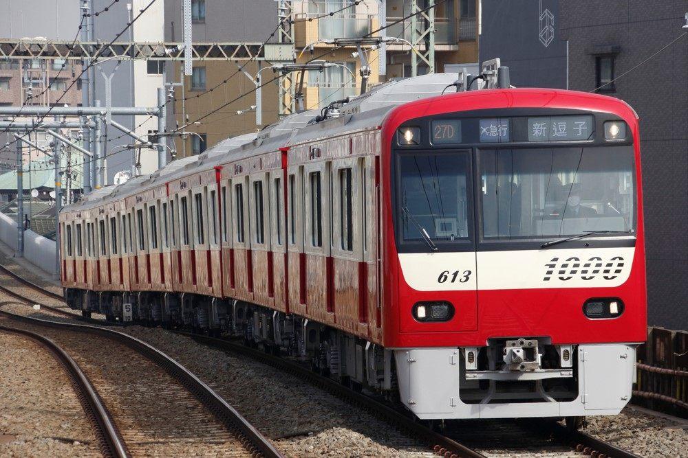 紅色車輛的京急線