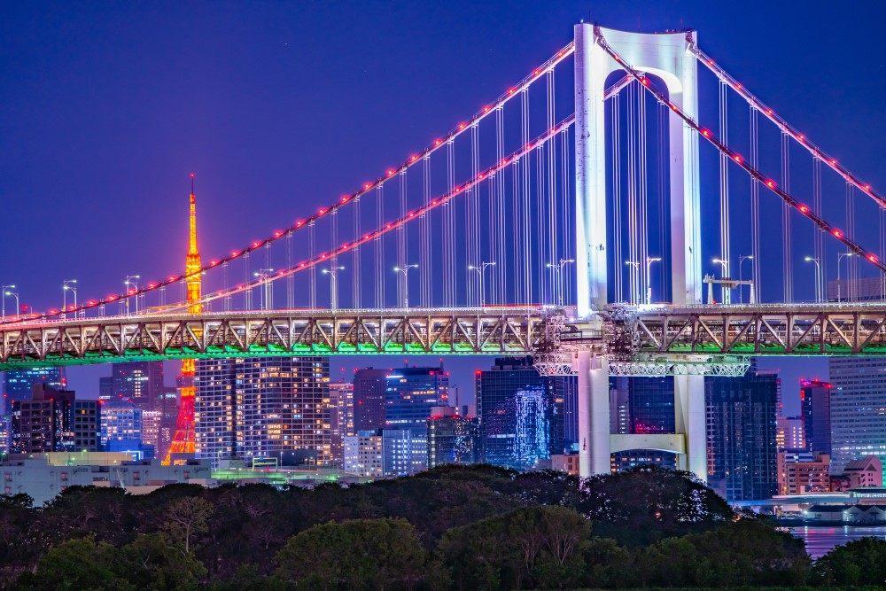 晚上從東京單軌電車可以看到的灣岸地區夜景