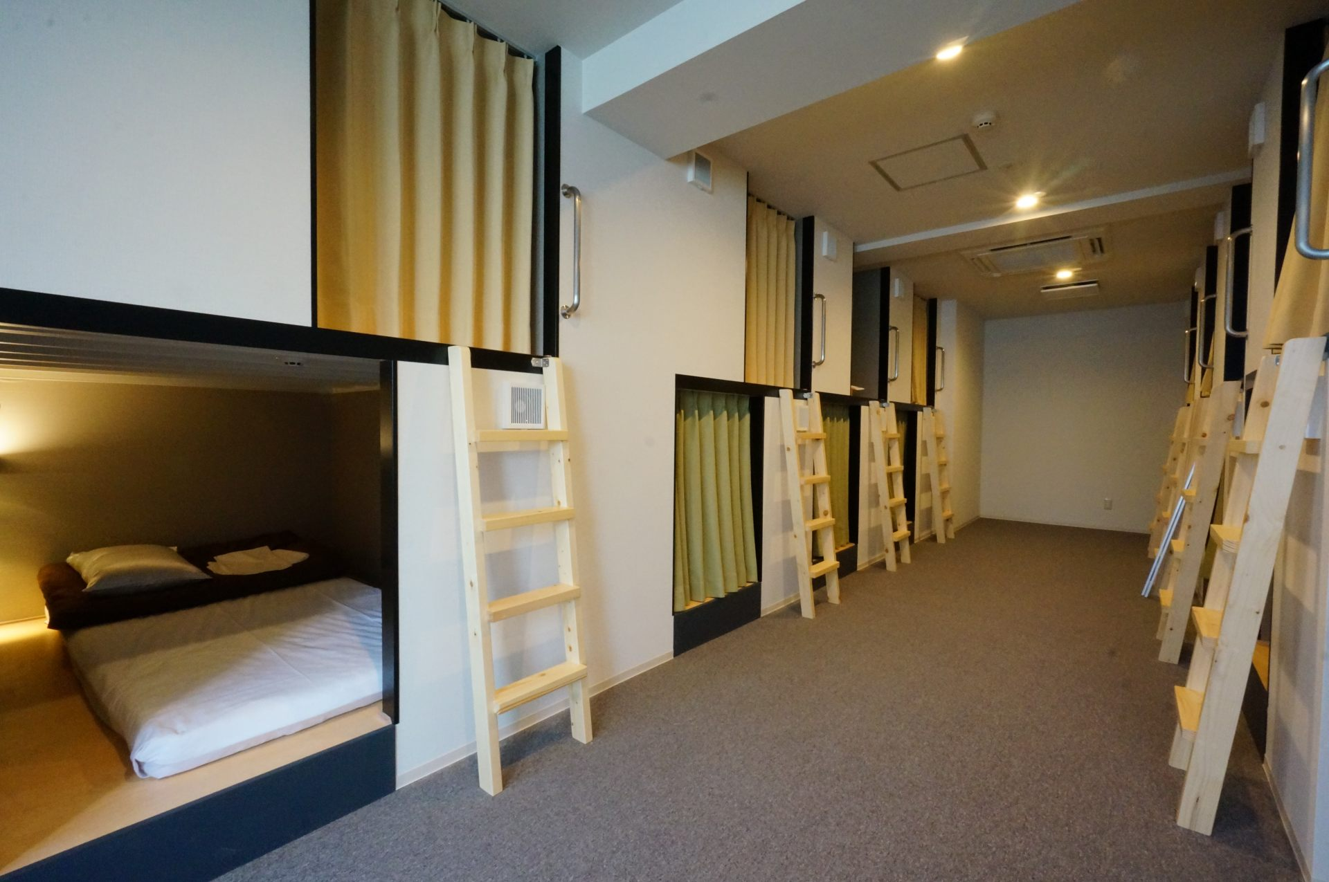 The wide-sized dormitory rooms are perfect for solo travel! There are various other room styles available that are well-suited for traveling with groups.