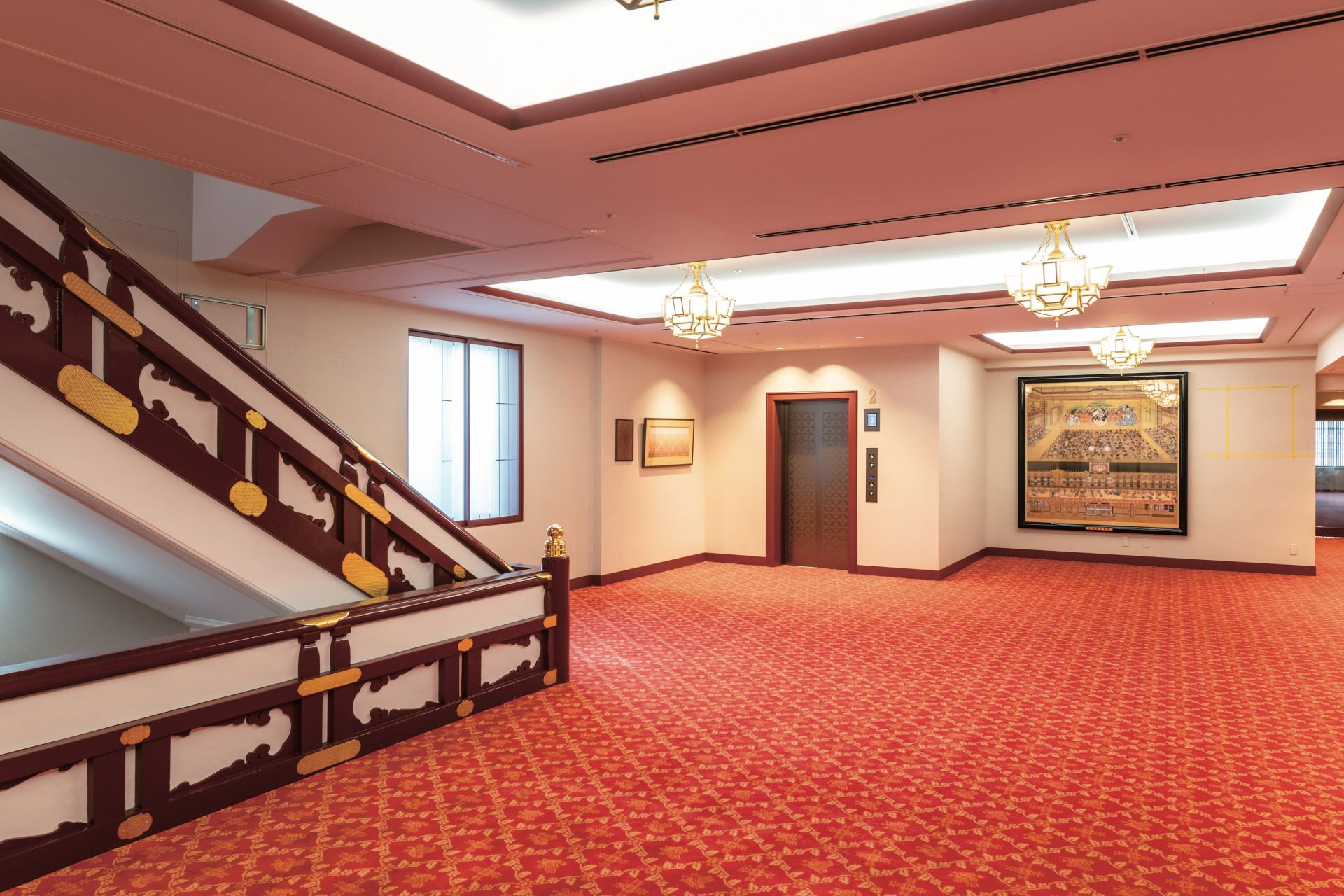 A spacious lobby. It was made more convenient due to renovations, including a new elevator being built.