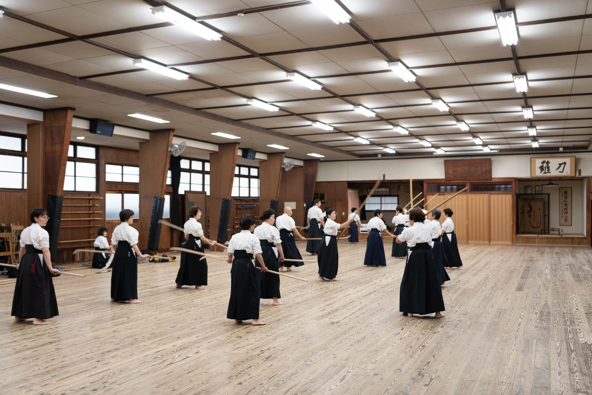 The dojo's interior has a historic appearance. The feel of your bare feet on Japanese cedar planks is pleasant.