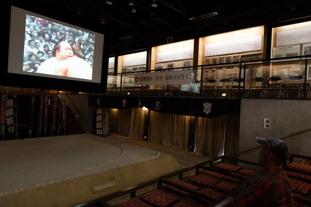 You can sit in one of the box seats, which are unique to professional sumo wrestling, and watch a video about sumo wrestling.