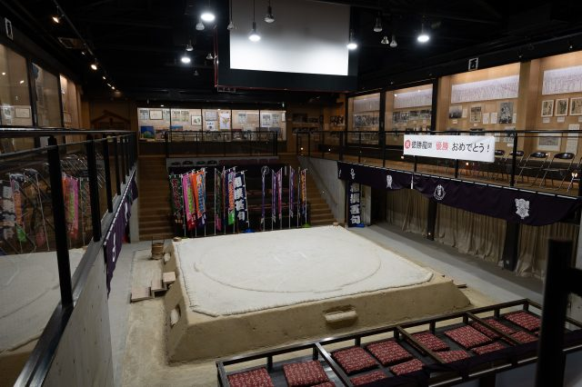 The sumo wrestling ring was made to the same specifications as an actual ring.
