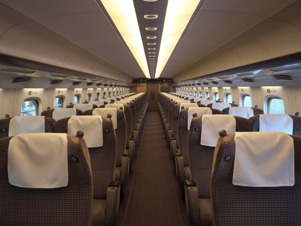 东海道新干线绿色车厢的座位