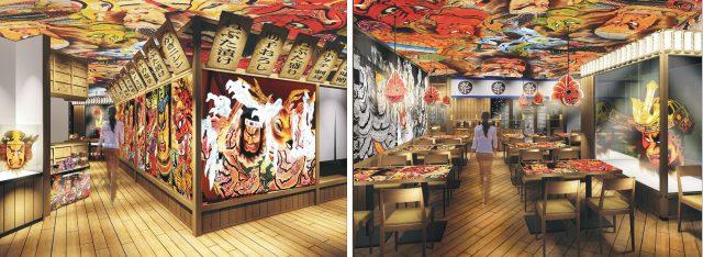 The world of Nebuta Matsuri is reproduced inside this restaurant