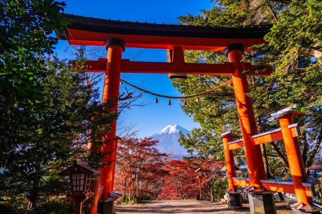 從鳥居望去的富士山