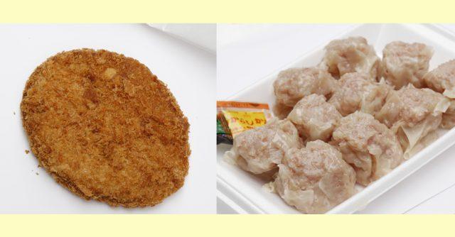 左:鲔鱼肉饼1个 250日元 右:大颗烧卖10个装 700日元