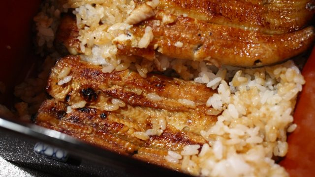飯中間的鰻魚也很大塊-中入丼-