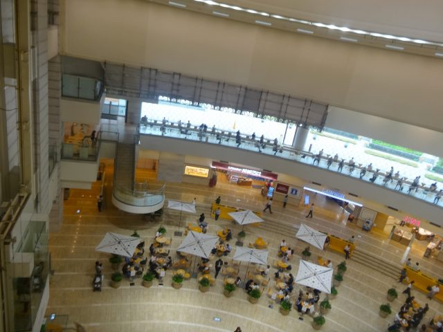 Looking from the 3rd floor of the atrium at the basement level