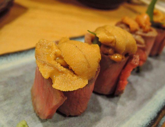 生海膽牛肉捲