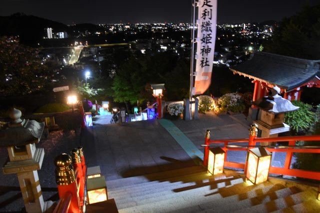從足利織姬神社看到的夜景,燈光下的台階格外美麗。