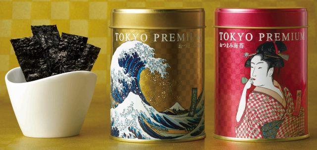 採用浮世繪設計包裝的東京高級下酒菜海苔,散發著江戶時代的香氣