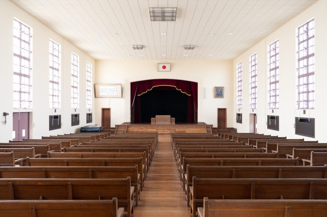 The chapel-like auditorium, where various events and school functions are held even now.