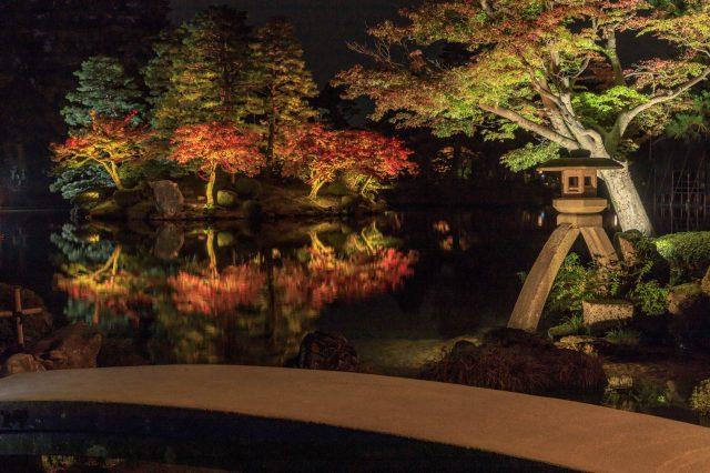 秋天的兼六園點燈
